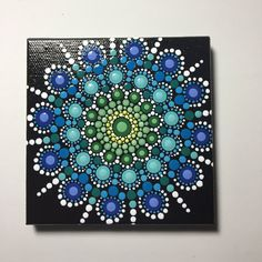 Hand Painted Mandala on Canvas, Mandala Meditation, Dot Art, #325 by MafaStones on Etsy