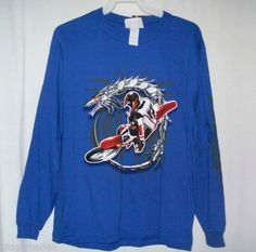 Mad Engine Shirt Size Large Cycle Dragon Graphics Blue Long Sleeve New w/ Tag free shipping