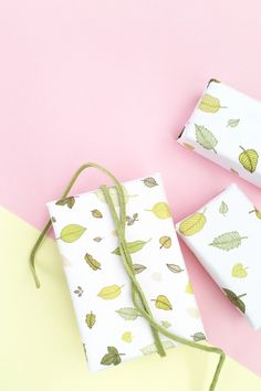 DIY Gift Wrap with Leaf Pattern - Make your own wrapping paper or packaging with this tutorial.