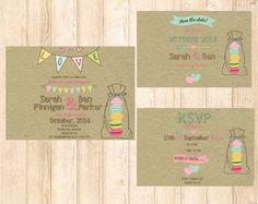Macaron Wedding invitation Package Pastel by GreenDoorHandmade, $35.00 #macaron #macaronparty #macaronwedding #invitation