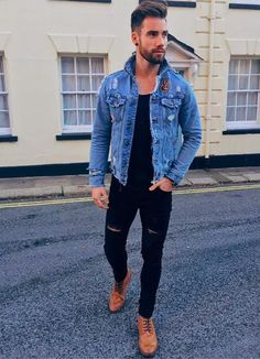 Men Street Fashion: Denim Jacket, Black jeans and t-shirt and brown shirt.