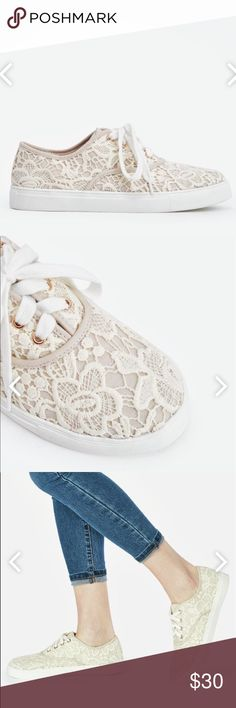 JUSTFAB Crochet Bridgette sneakers Super cute off white crochet sneakers from JustFab. Only worn once and kept in closet. I've lost a lot of weight so these no longer fit. JustFab Shoes Sneakers