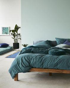 Décor do dia: cama em vários tons de azul (Foto: reprodução)
