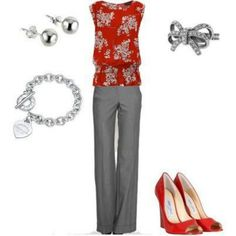 Love love love the top. I also quite like the color combo, and I love a good pair of red pumps!