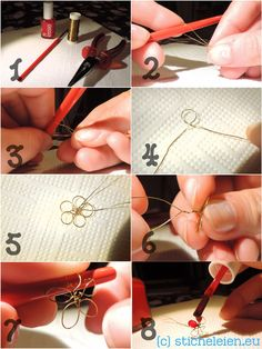 DIY - Art - Craft - Projects — wire flowers made with wire and nail polish