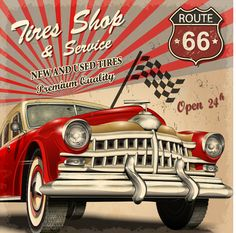 44 Super Ideas For Vintage Cars Retro Travel Posters Carros Retro, Carros Vintage, Vintage Advertisements, Vintage Ads, Logos Retro, Used Tires, Car Vector, Car Illustration, Illustrations