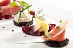 Beet Canapes with Goat Cheese - stock photo Jam Recipes, Appetizer Recipes, Appetizers, Ideas Para Canapés, German Salads, Christmas Canapes, Tiny Food, Life Magazine, Food Design