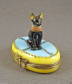 NEW FRENCH LIMOGES BOX BLACK EGYPTIAN KITTY CAT KITTEN ON BLUE RUG W/ GOLD | eBay