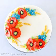 Red Poppy Buttercream flower cake - Olga Zaytseva