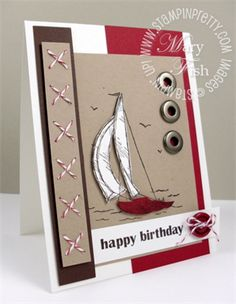 Masculine card with Sail Away  Love the grommets and sewn twine - very nice!