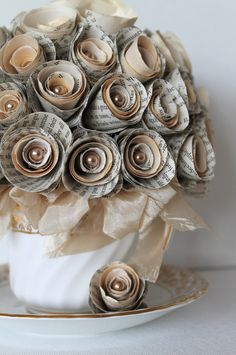 Upcycled Flower Arrangement Swarovski Pearl Beads Paper Handmade Paper Roses Tea Cup Jane Austen Sculptural Art Home Decor. $129.00, via Etsy.