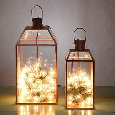 Lights in lanterns - love cozy winter lighting!