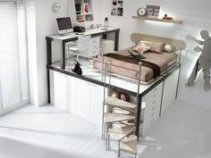 Contemporary Kids Bedroom with Paint, Bunk beds, Loft, picture window, Concrete floors, Built-in bookshelf, Standard height