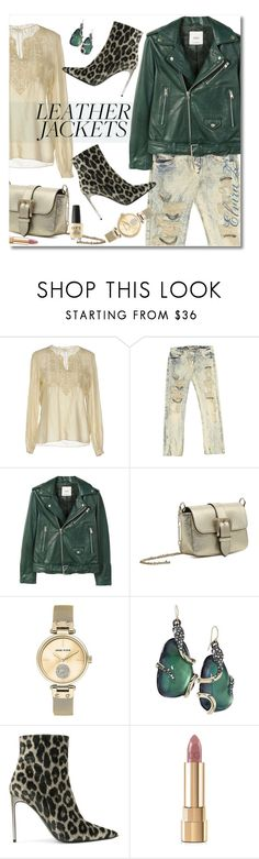 """""""LEATHER JACKETS"""" by elza76 ❤ liked on Polyvore featuring Yves Saint Laurent, Ermanno Scervino, MANGO, RED Valentino, Anne Klein, Alexis Bittar, STELLA McCARTNEY, Dolce&Gabbana and OPI"""