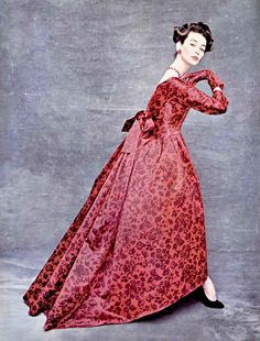 Dorian Leigh in floral print satin ball gown by Christian Dior, 1956