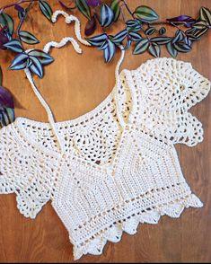 Crochet Bra, Crochet Wool, Crochet Bikini Top, Crochet Blouse, Crochet Clothes, Crochet Designs, Crochet Patterns, Crochet Summer Tops, Vogue Knitting