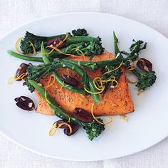 Seared Arctic Char with Broccolini, Olives, and Garlic from Epicurious.com #myplate #protein #veggies