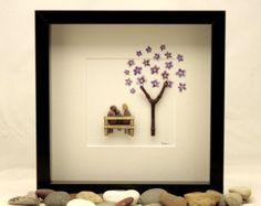 Guijarro arte, familia de tres, regalo familiar único, regalo del día de padres, cumpleaños, modificado para requisitos particulares obras de arte familiares, arte de piedra, regalo del día de la madre.