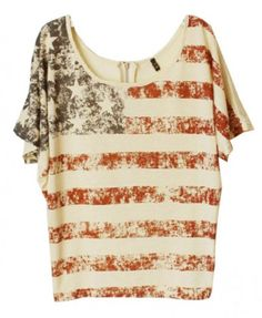 American Flag Print T-shirt Top