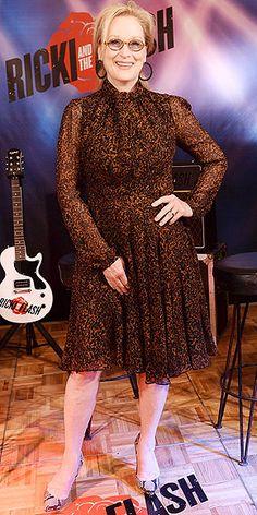 Last Night's Look: Love It or Leave It? Vote Now!   MERYL STREEP   in a black-and-brown printed dress, snakeskin Alexandre Birman pumps and oversize black hoop earrings at the Ricki and the Flash photo call in N.Y.C.