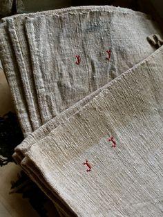 Antique Linen. Vintage Tea Towel, Kitchen Dish Cloth. Monogramed JJ, Red…