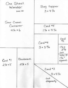 One Sheet Wonder Template for 81/2 x 11 paper
