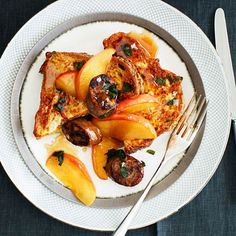 Savory French Toast with Apples, Chicken Sausage and Sage