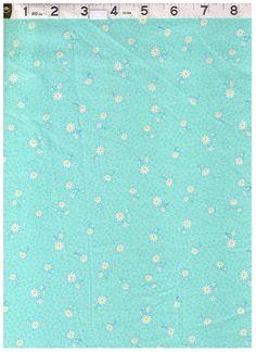 HALF YARD Yuwa Fabric -Petite Daisies and Dots on Aqua Blue - Atsuko Matsuyama 30s Collection  - Japanese - Yellow and White Daisy on Blue by fabricsupply on Etsy