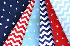 Marine navy, sky and red cotton fabric set with stars and chevrons / Zestaw marynarski