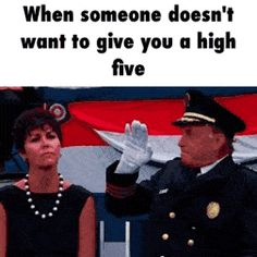 When someone doesn't want to give you a high five (gif)