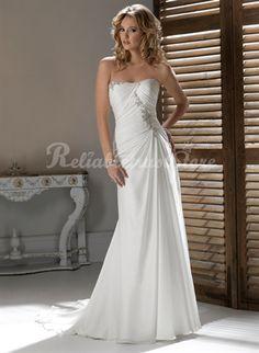 Attractive A-line Sweetheart Floor Length Chiffon Beach Wedding Dress-$328.99-ReliableTrustStore.com