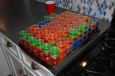 Never hurts to know great jello shot recipes: Sex on the beach, Rum & Coke, Lemon Drop, Grape Crush, Hawaiian, Gin & Tonic, Margarita, Lemon Lime, Jaeger Bomb, Orange Tic Tac, Blueberry, Mimosa, Silk, Fruit Punch, Watermelon, Red Headed Slut.