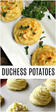 This easy Duchess Potatoes recipe is an elegant potato recipe that is perfect for the holidays. Duchess potatoes can even be made ahead of time and frozen to save you time on the day of your dinner party! christmas food ideas for dinner Christmas Side Dishes, Christmas Dinner Menu, Christmas Parties, Christmas Treats, Christmas Holidays, Christmas Dinner Ideas Appetizers, Christmas Drinks, Christmas Cooking, Christmas Recipes Dinner Main Courses