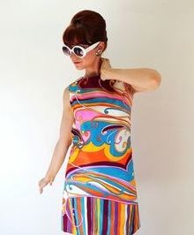 Amazing mod psychedelic dress print 60s fashion