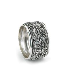Silverly Women's Men's .925 Sterling Silver Rope Scroll Work Bali Thick 15.3mm Thumb Ring X6KQFDm5a