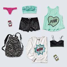 Victoria's Secret pink clothes.