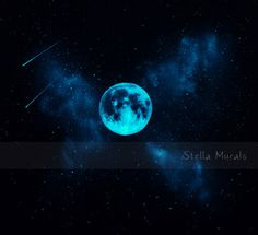 Star Mural with Glow in the Dark Moon by StellaMurals on Etsy