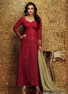 Dia Mirza Maroon Georgette Party Wear Suit