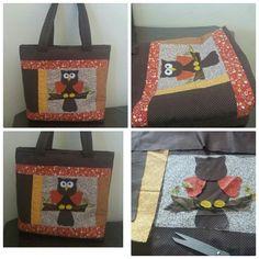 bolsa patchwork coruja