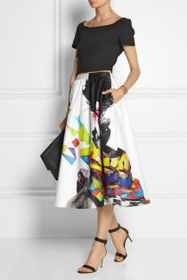 Alice + Olivia Printed stretch-cotton midi skirt