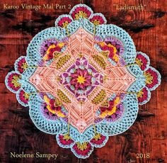 Ravelry: Karoo Vintage MAL pattern by Jen Tyler Crochet Mandala Pattern, Crochet Blocks, Granny Square Crochet Pattern, Crochet Flower Patterns, Crochet Stitches Patterns, Crochet Squares, Crochet Designs, Knitting Patterns, Granny Squares