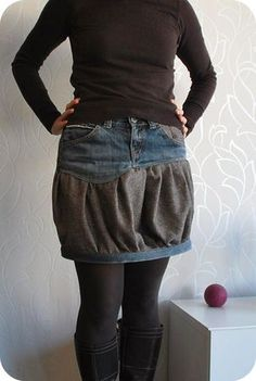 this is a less denim denim skirt re-make...