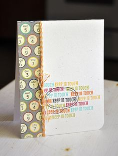 Keep In Touch Card by Maile Belles using Jillibean Soup's Neopolitan Bean Bisque Papers and Unity/Jillibean Soup Stamps (via the Jillibean Soup blog).
