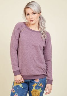 Maximum Relaxation Sweatshirt in Lavender. You reach the cuddliest peak possible by wearing this lavender sweatshirt for some down time! #purple #modcloth