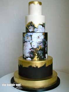 Wallpaper inspired cake with black and gold accents by The Butter End Cakery Beautiful Wedding Cakes, Gorgeous Cakes, Pretty Cakes, Amazing Cakes, Cupcakes, Cupcake Cakes, Unique Cakes, Elegant Cakes, Decoration Patisserie