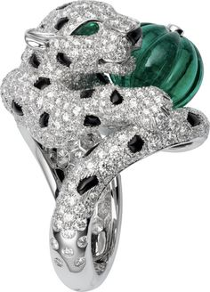 CARTIER. Ring - platinum, one 9.03-carat melon-cut emerald bead, emerald eyes, onyx, 551 brilliant-cut diamonds totaling 4.68 carats. #Cartier #CartierRoyal #2014 #HauteJoaillerie #HighJewellery #FineJewelry #Emerald #Onyx #Diamond