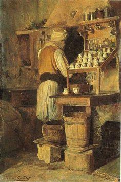 Algérie - Peintre Français  EUGÈNE GIRARDET, Huile sur toile   Titre :   Café Arabe,   Musée d'Orsay, Paris