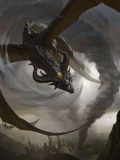 Storm Dragon by Bayard Wu (Fantasy Art Watch) Mythical Creatures Art, Mythological Creatures, Magical Creatures, Fantasy Creatures, Dark Fantasy, World Of Fantasy, Fantasy Artwork, Fantasy Kunst, Cool Dragons