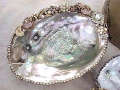 Crafts:  #Craft a jewel-embellished abalone shell for a Moon Bowl or smudge bowl.