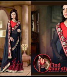 73c5e618ce2330 Buy navy blue embroidered Gorgette saree with blouse wedding-saree online  Indian Ethnic